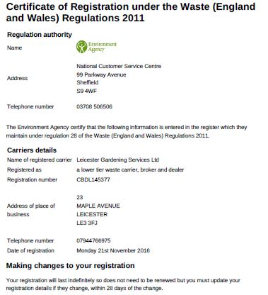 grounds maintenance waste carrier licence